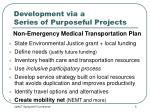 development via a series of purposeful projects