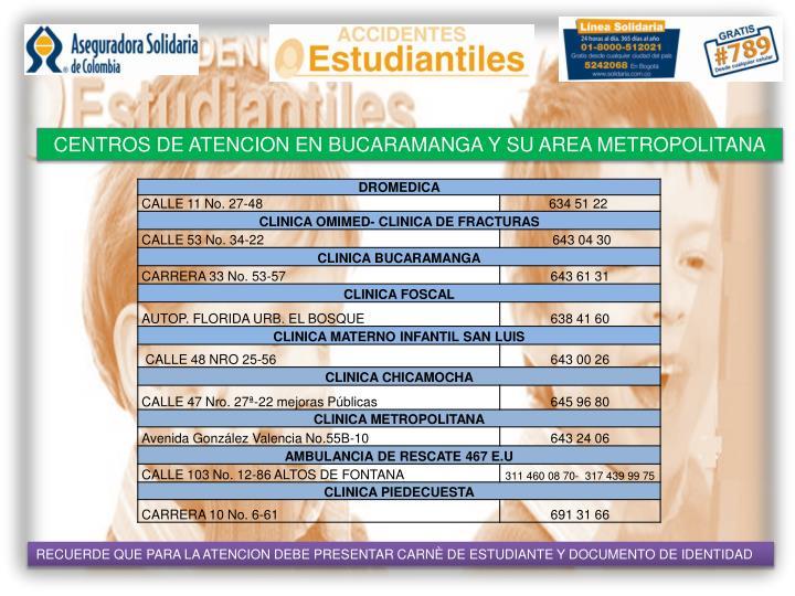 CENTROS DE ATENCION EN BUCARAMANGA Y SU AREA METROPOLITANA