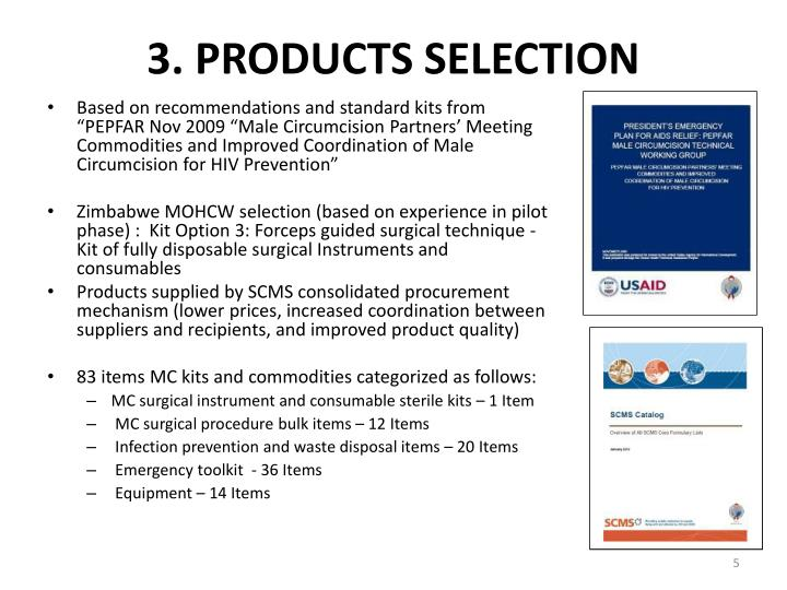 3. PRODUCTS SELECTION
