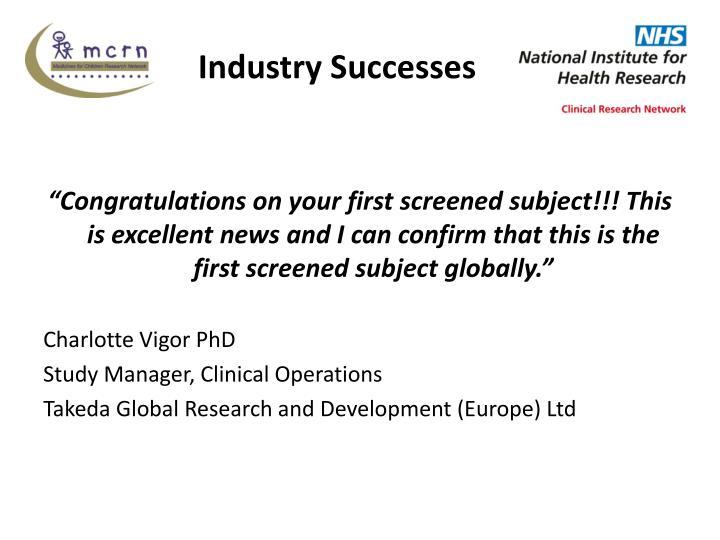 Industry Successes