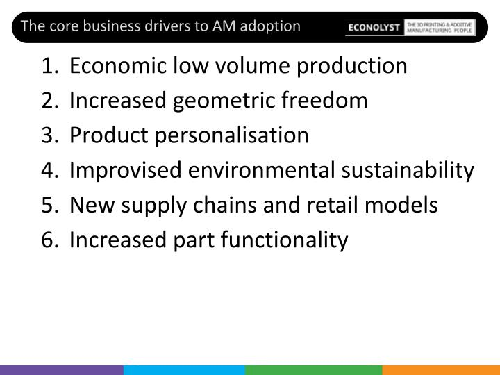 The core business drivers to AM adoption