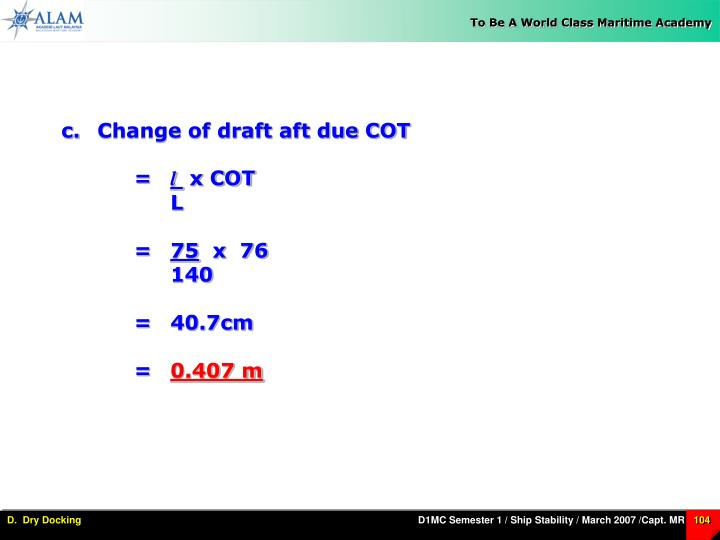 Change of draft aft due COT