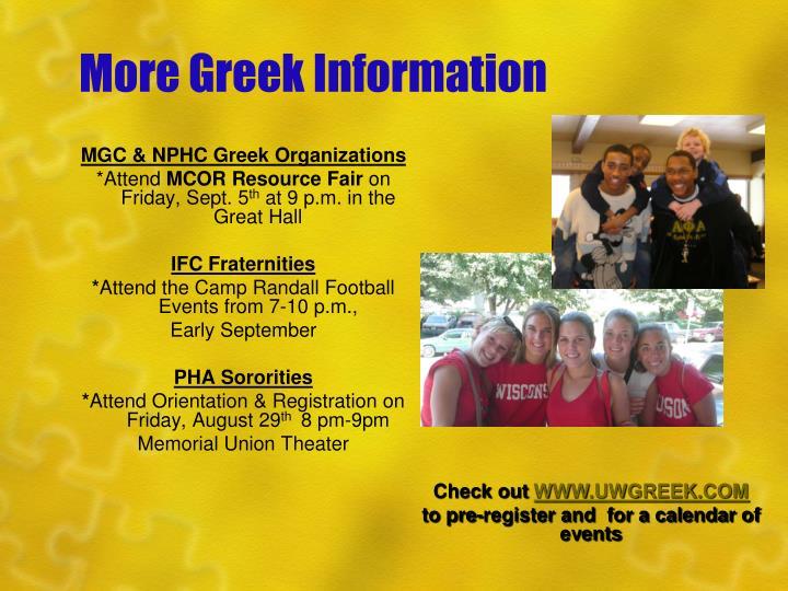 More Greek Information