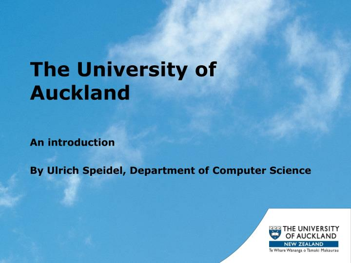 Ppt The University Of Auckland Powerpoint Presentation