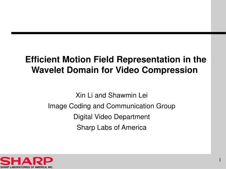 efficient motion field representation in the wavelet domain for video compression n.