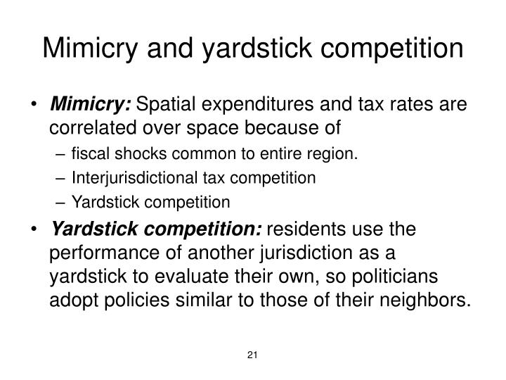 Mimicry and yardstick competition