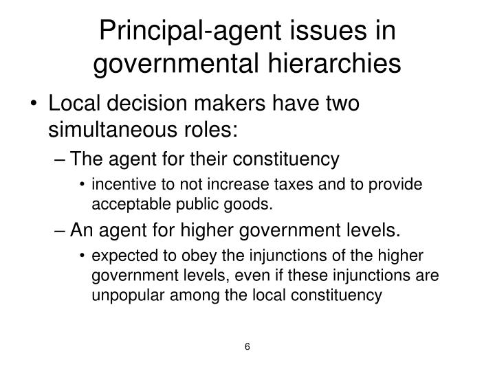 Principal-agent issues in governmental hierarchies
