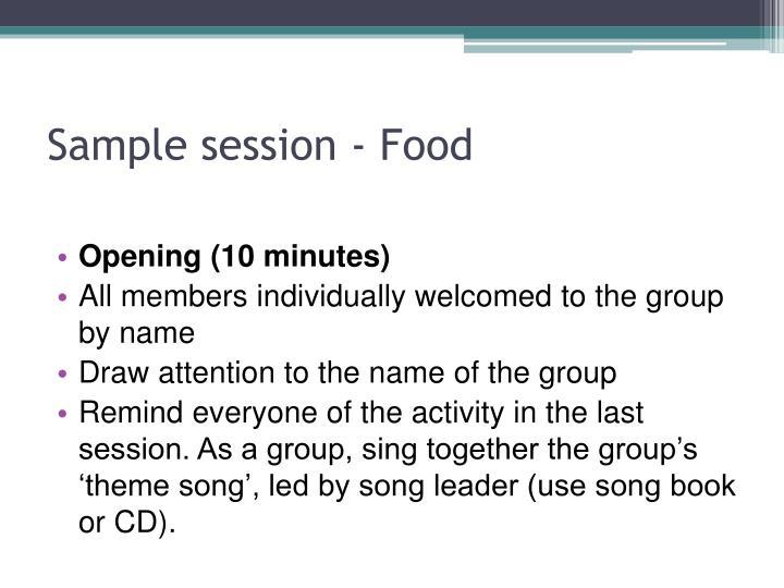 Sample session - Food