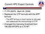 current hpc export controls