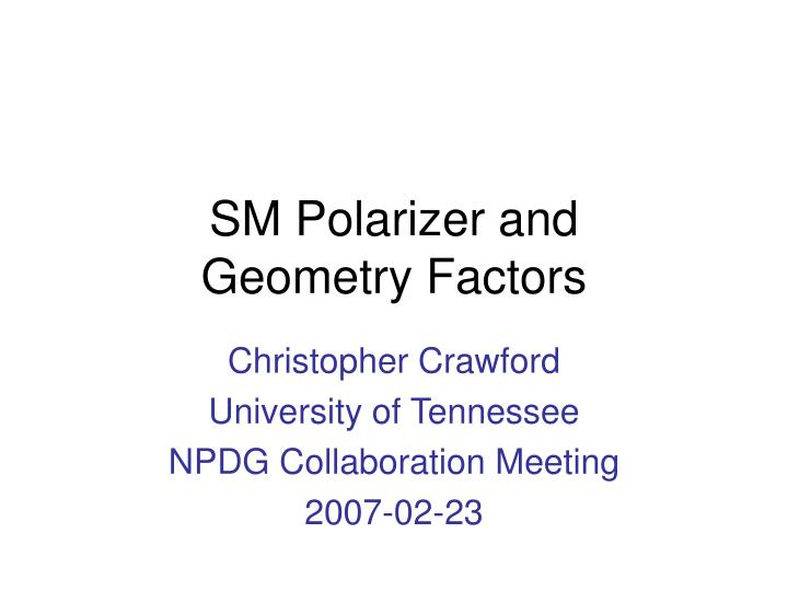 sm polarizer and geometry factors n.