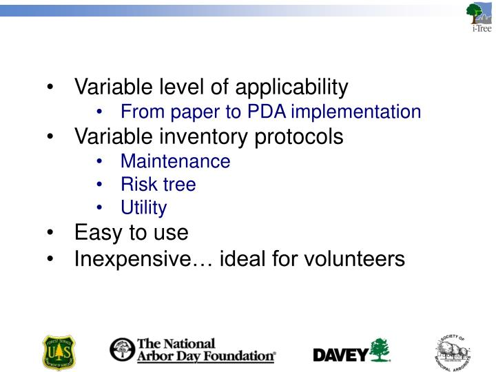 Variable level of applicability