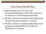 state rural health plan