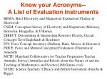 know your acronyms a list of evaluation instruments
