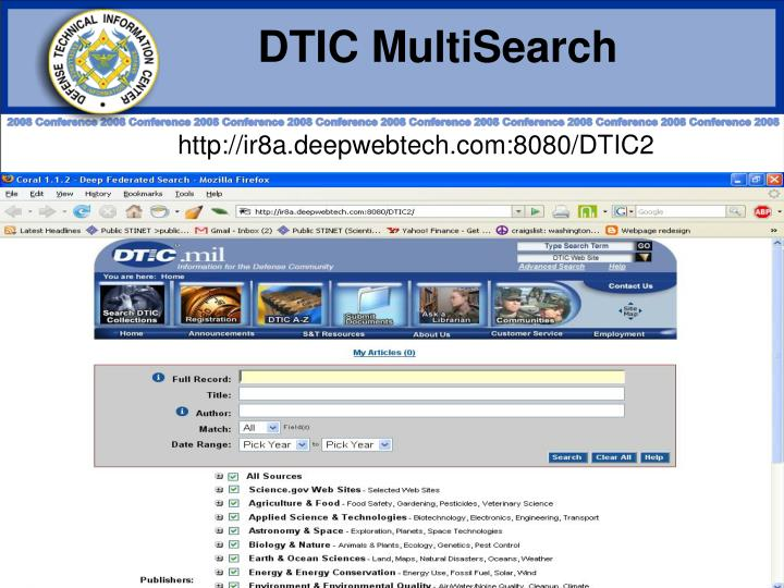 DTIC MultiSearch