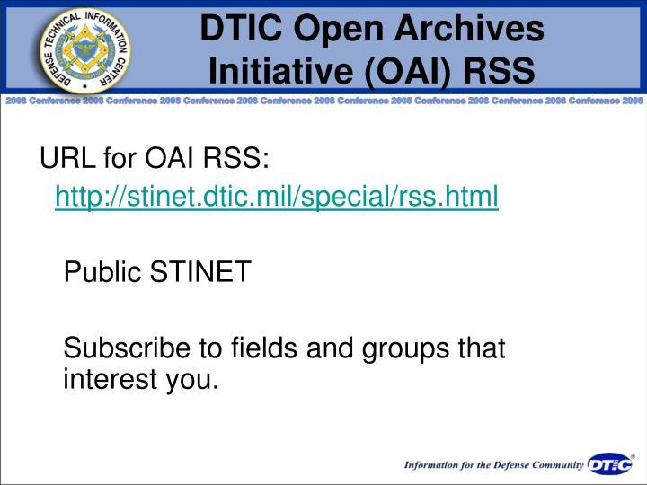DTIC Open Archives Initiative (OAI) RSS