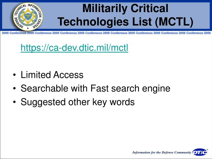 Militarily Critical Technologies List (MCTL)