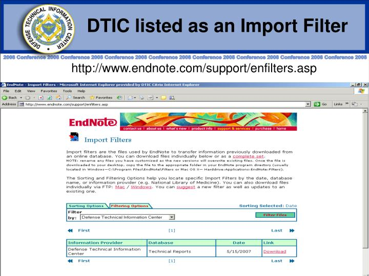 DTIC listed as an Import Filter