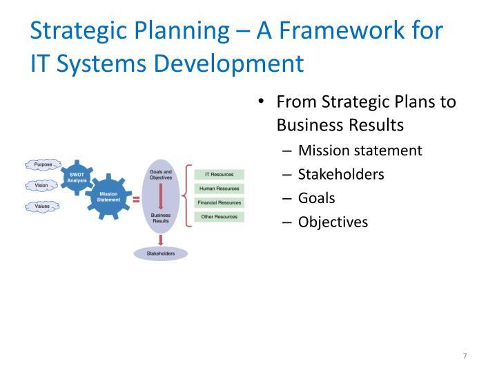 Strategic Planning – A Framework for IT Systems Development