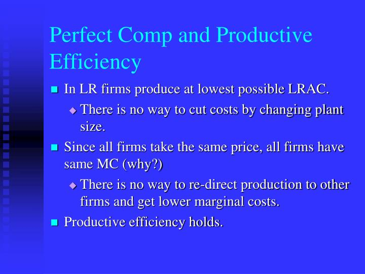 Perfect Comp and Productive Efficiency