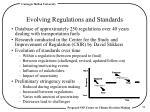 evolving regulations and standards