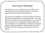 first expert workshop