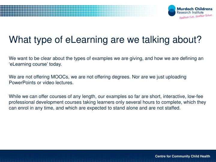 What type of eLearning are we talking about?