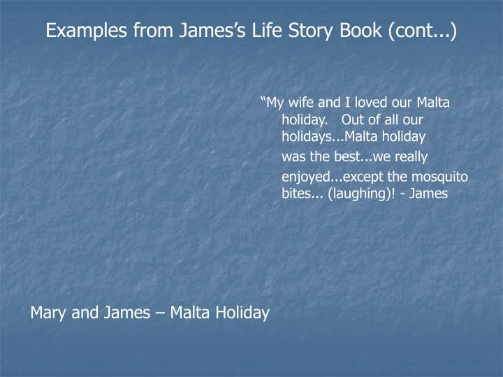 Examples from James's Life Story Book (cont...)