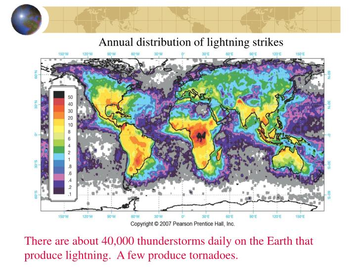 Annual distribution of lightning strikes
