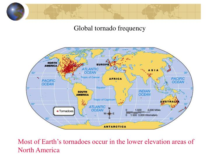 Global tornado frequency