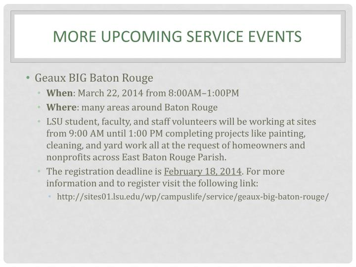 More upcoming service events