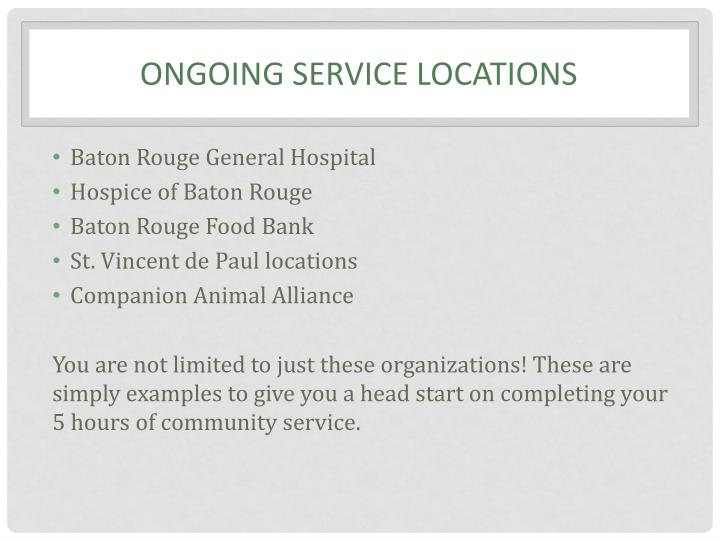 Ongoing service locations
