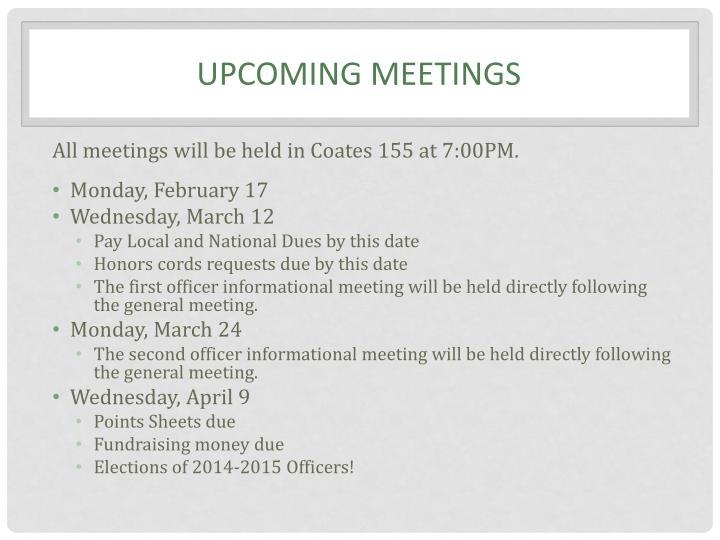 Upcoming meetings