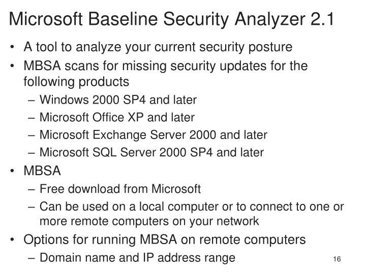 Microsoft Baseline Security Analyzer 2.1