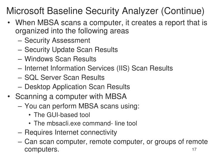 Microsoft Baseline Security Analyzer (Continue)