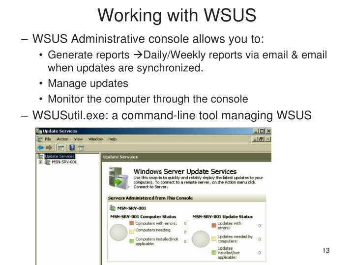 Working with WSUS