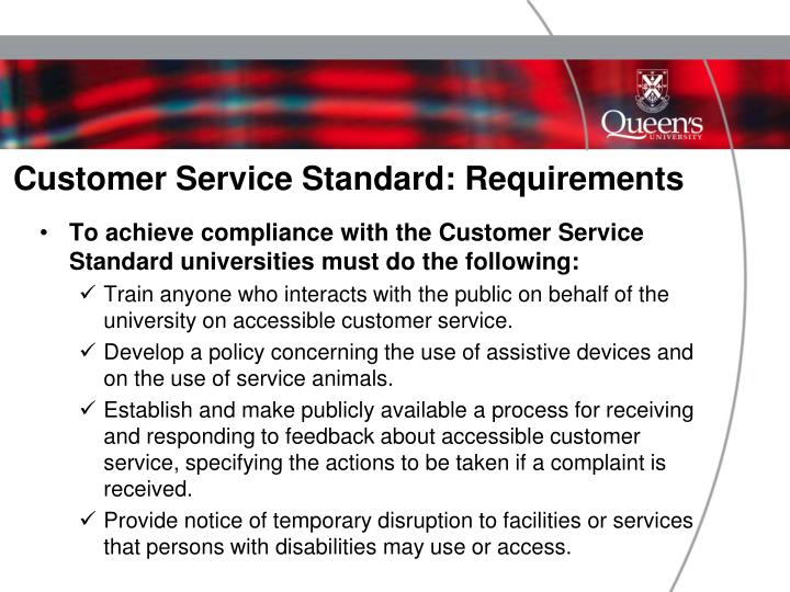 Customer Service Standard: Requirements
