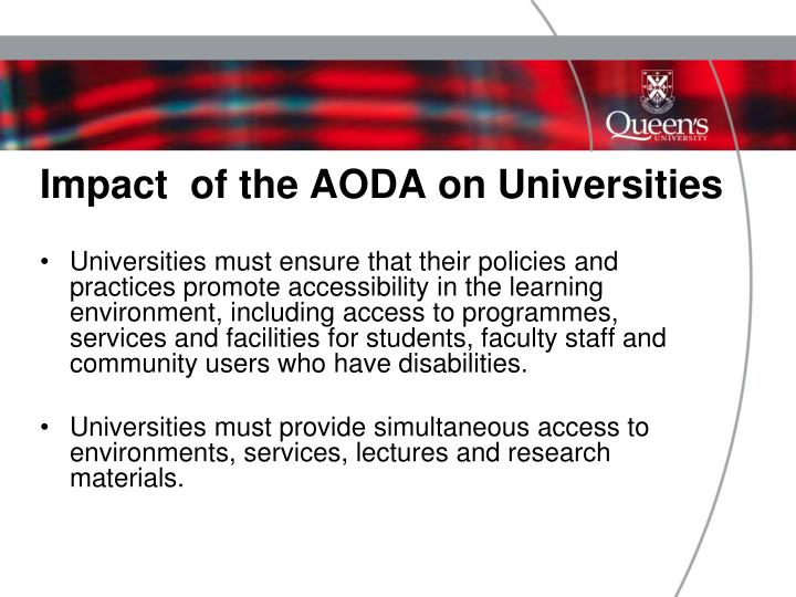 Impact  of the AODA on Universities