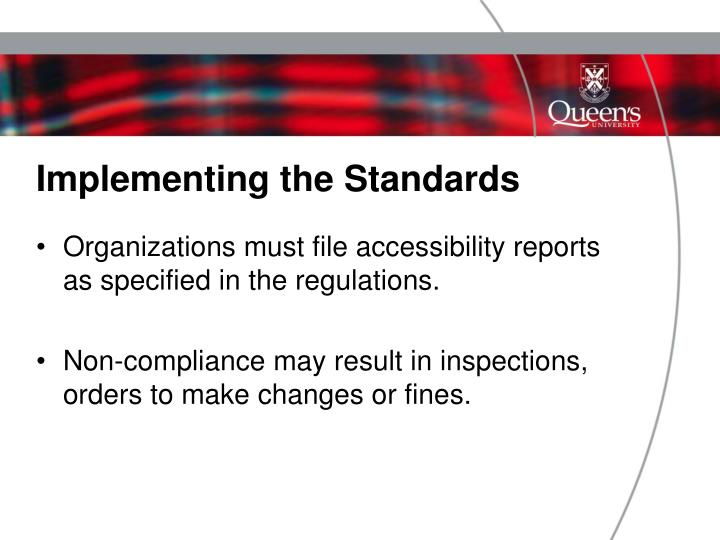 Implementing the Standards
