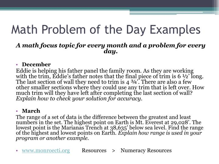 Math Problem of the Day Examples