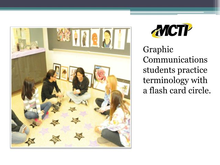Graphic Communications students practice terminology with a flash card circle.