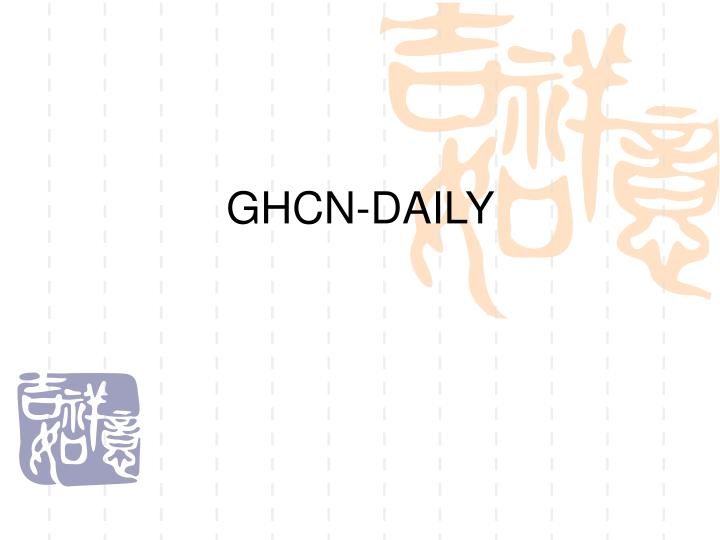 GHCN-DAILY