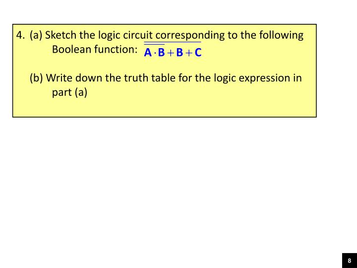 (a) Sketch the logic circuit corresponding to the following 	Boolean function: