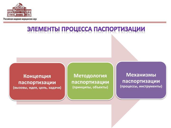 Элементы процесса паспортизации