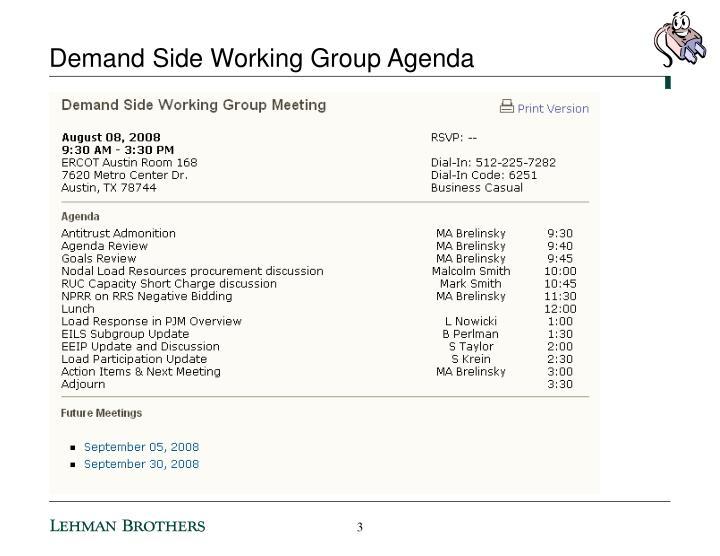 Demand side working group agenda1