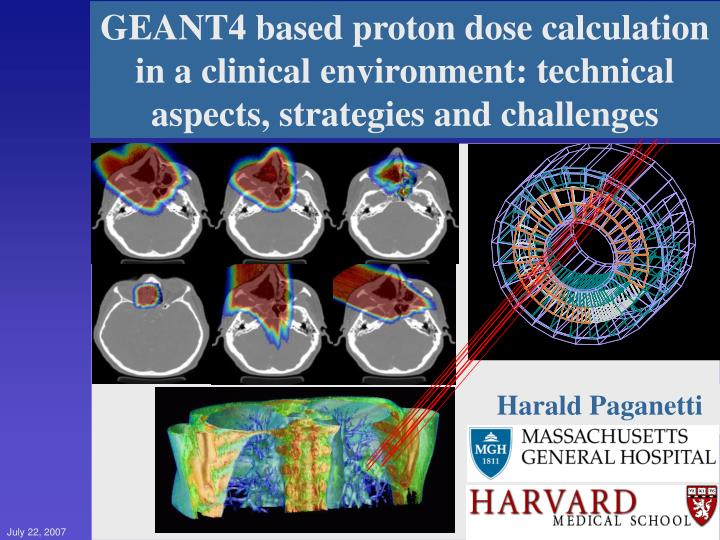 GEANT4 based proton dose calculation in a clinical environment: technical aspects, strategies and challenges