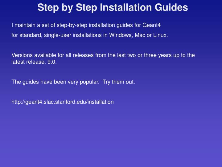 Step by Step Installation Guides