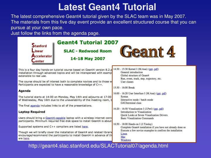 Latest Geant4 Tutorial