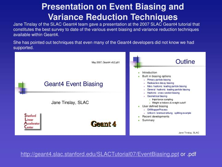 Presentation on Event Biasing and