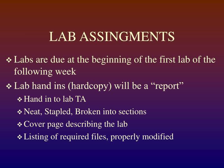 Lab assingments