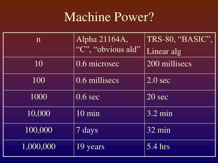 Machine Power?